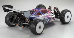 Kyosho Inferno MP9E Brushless Buggy Rear quarter View with Body