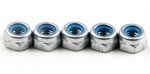 KYO1-N3033NA-S Kyosho Silver Aluminum Nylon Nut M3x3.3mm - Package of 5