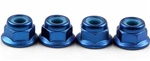 KYO1-N4045FNA-B Kyosho Blue Aluminum Flanged Nylon Nut M4x4.5mm - Package of 4