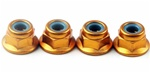 KYO1-N4045FNA-G Kyosho Gold Aluminum Flanged Nylon Nut M4x4.5mm - Package of 4