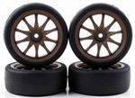 KYOR246-4122 Kyosho Pre-Mounted BS POTENZA HG & CE28N Tires on Bronze Wheels - Package of 4